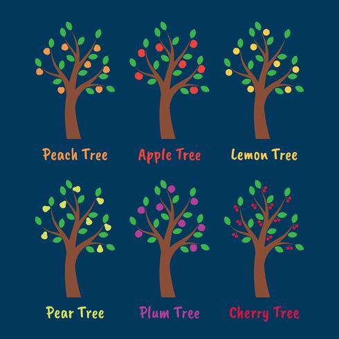 Insieme dell'illustrazione di frutti e degli alberi vettore