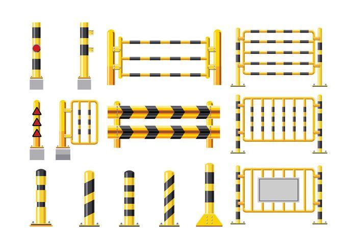 Impostare l'illustrazione dettagliata di una guardavia vettore