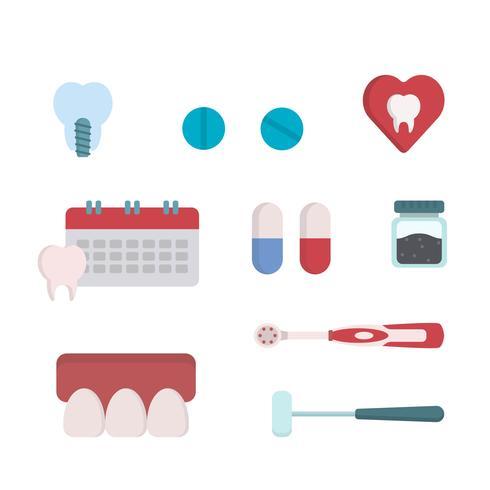 Vettori di dentista piatto