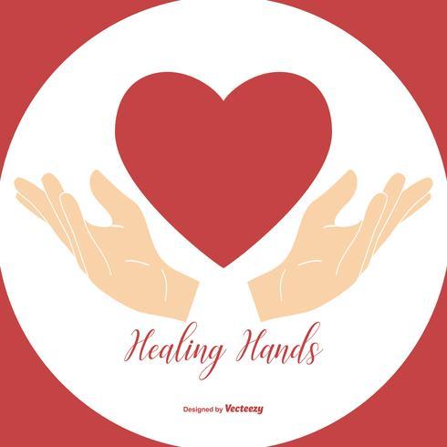 Mani curative che tengono l'illustrazione del cuore vettore
