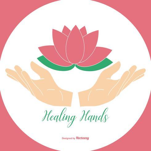 Mani curative che tengono l'illustrazione del fiore di loto vettore