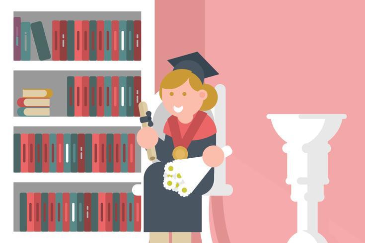 Laurea con illustrazione del diploma vettore