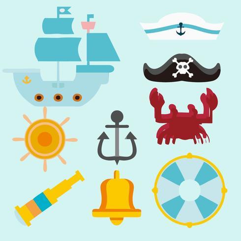 Vettore marino libero delle icone del marinaio