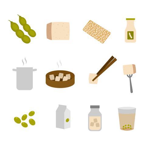 Raccolta di vettore degli ingredienti del tofu