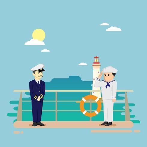 Marinaio gratis sulla nave illustrazione vettore