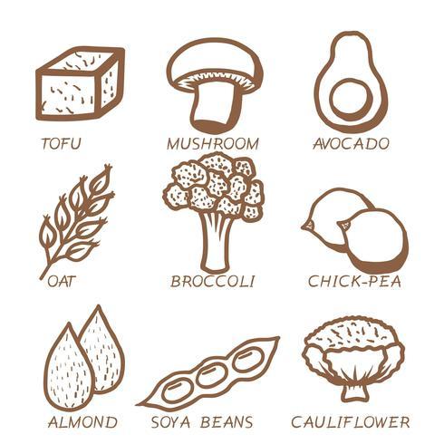 vettore icona cibo vegano