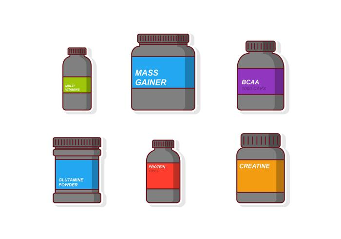Set di bottiglie di integratori vettore