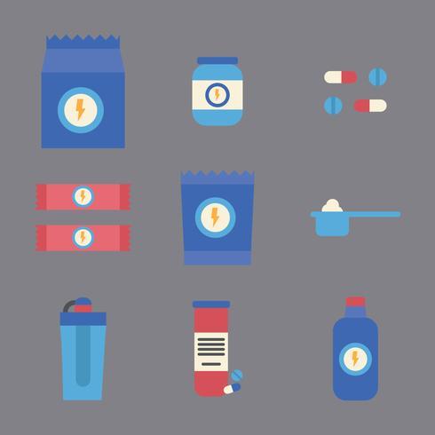 Supplementi energetici colorati vettore