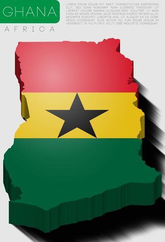 Mappa di Ghana 3d vettoriale con bandiera