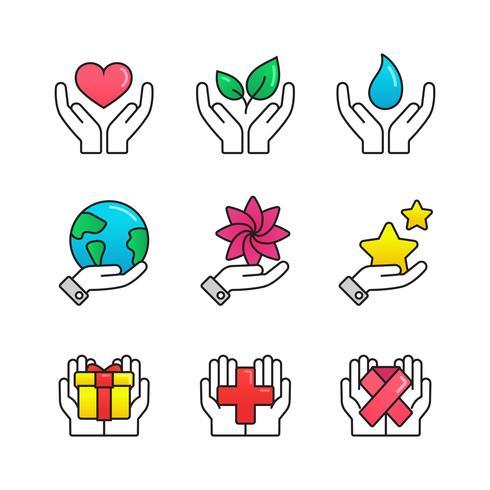 Icona delle mani di guarigione vettore