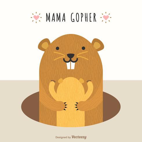 Mama Gopher Abbraccio Cub Cute Vector Illustration