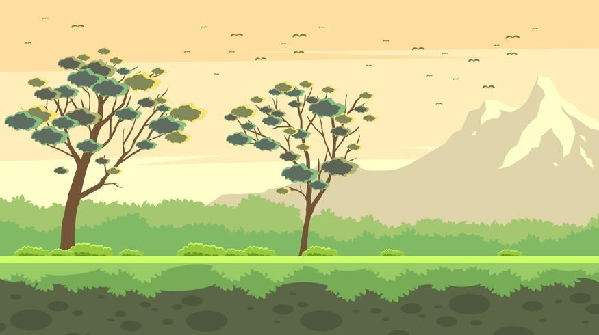 Vettore libero dell'albero di gomma del paesaggio