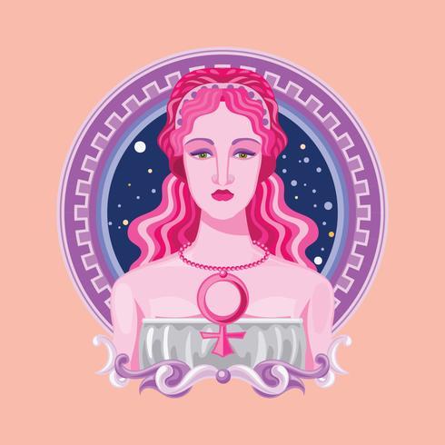 Nascita del primo piano della dea greca Afrodite vettore