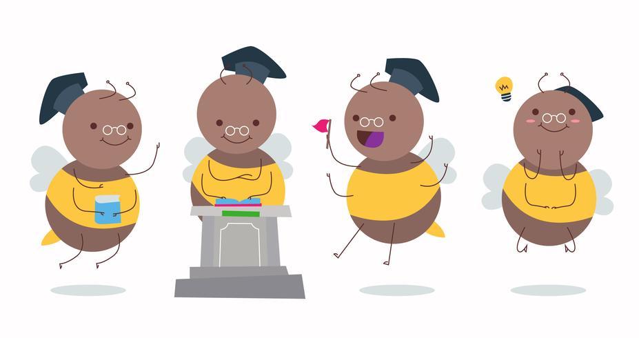 Professore divertente Hornets Character Vector Illustration