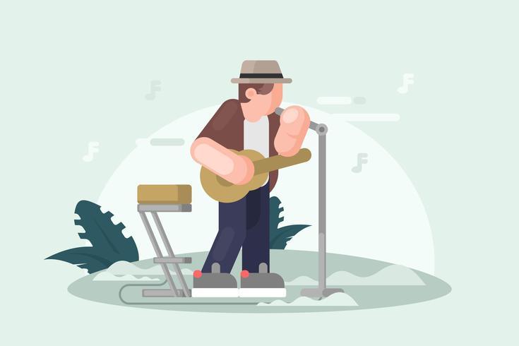 Musicista nell'illustrazione del cappello di Panama vettore