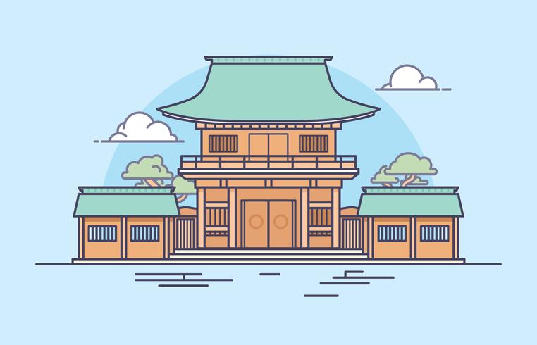 Illustrazione del Santuario giapponese vettore