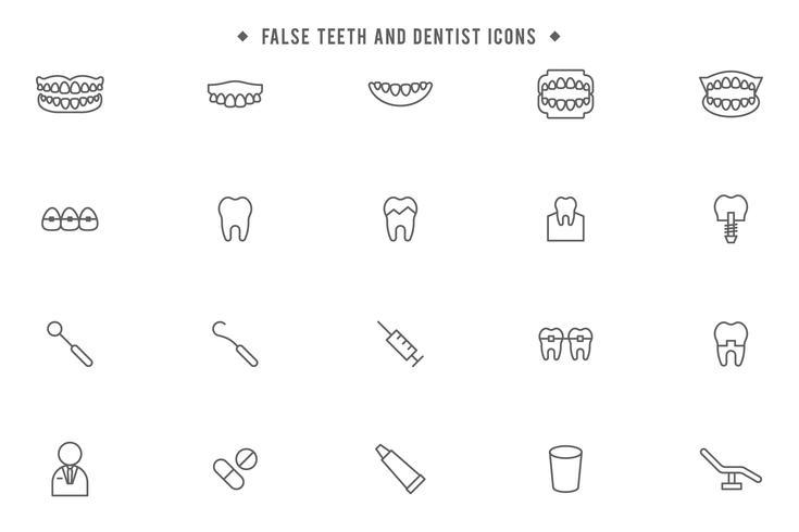 denti finti e dentisti liberi vettore