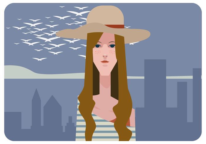 Ragazza con cappello vettoriale