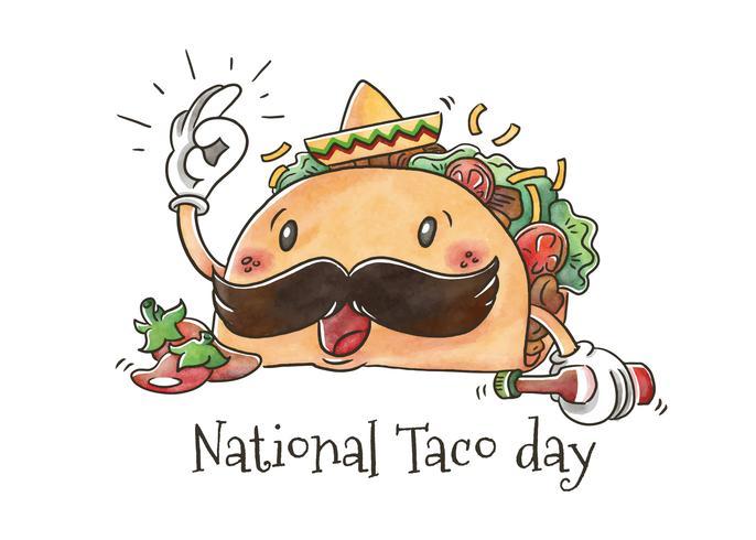 Simpatico personaggio di Taco con Jalapeños per la Giornata Nazionale del Taco vettore