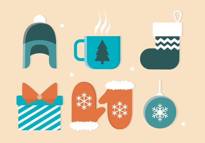 Elementi invernali di design piatto vettoriali gratis