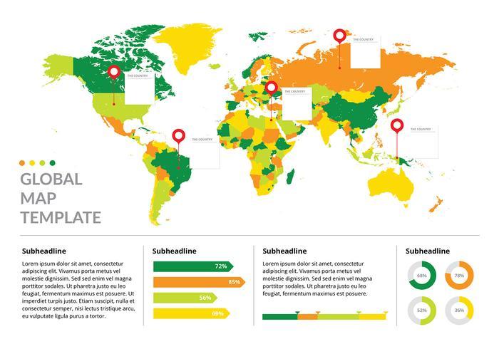 Vettore gratis del modello di Infographic della mappa globale