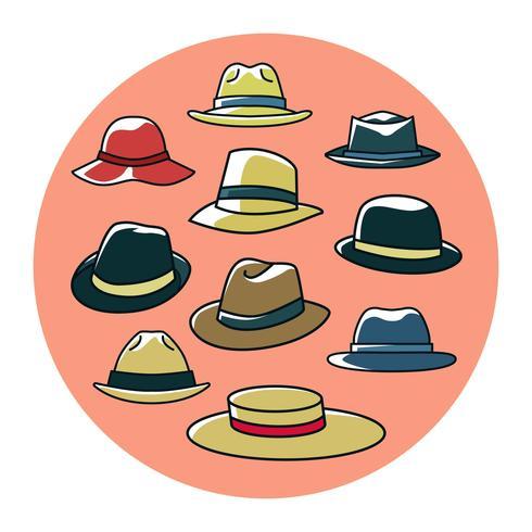 Vettore colorato della raccolta dei cappelli di Panama libero