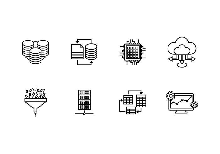 Sistema di database impostato icona lineare vettore