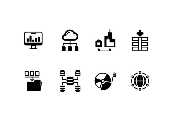 Icona di vettore di set di sistema di database