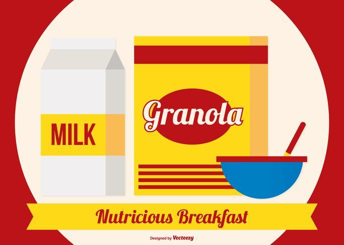 Scatola di muesli con latte e scodella vettore