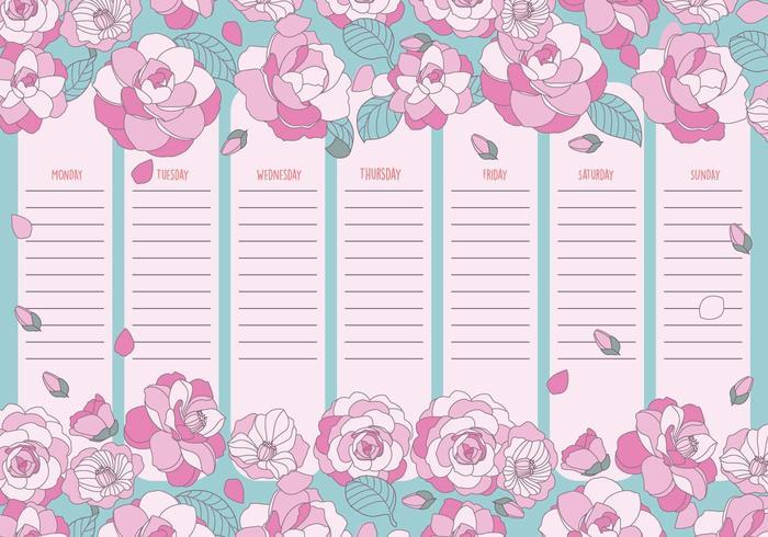 Carino calendario settimanale stampabile vettoriale