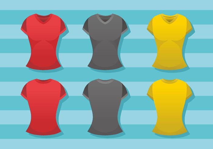 Modello di camicia con scollo a V donna vettore