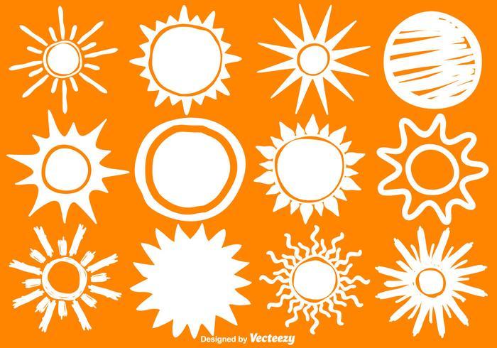 Icone disegnate a mano del sole di vettore