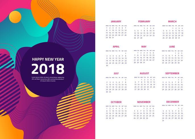 Vettore del calendario astratto gratuito 2018