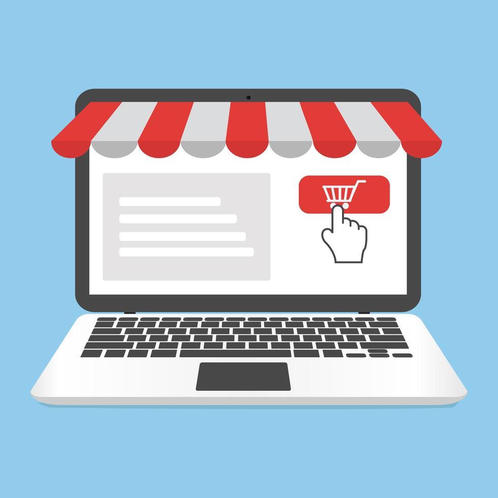 laptop per lo shopping online con vetrina aziendale vettore