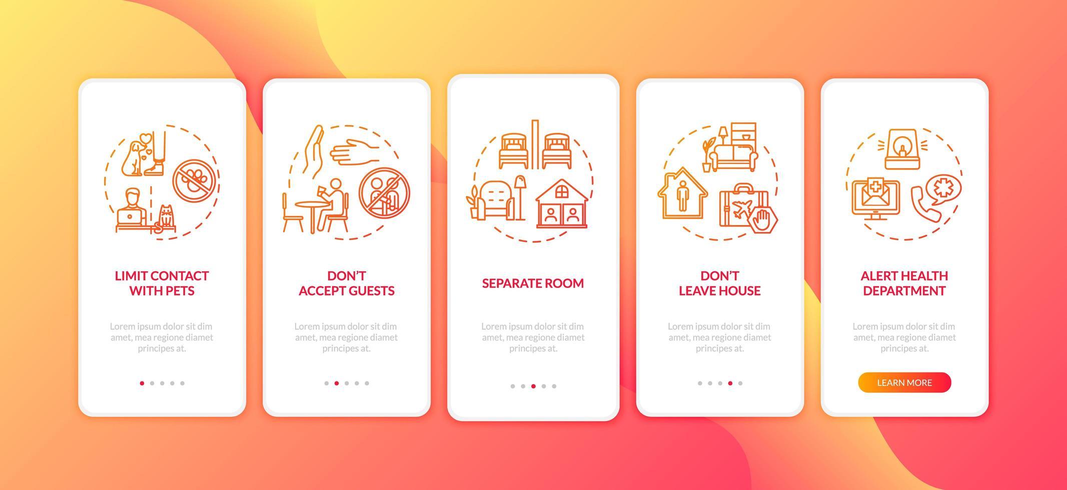 suggerimenti sull'autoisolamento e sull'igiene per l'onboarding dell'app mobile vettore