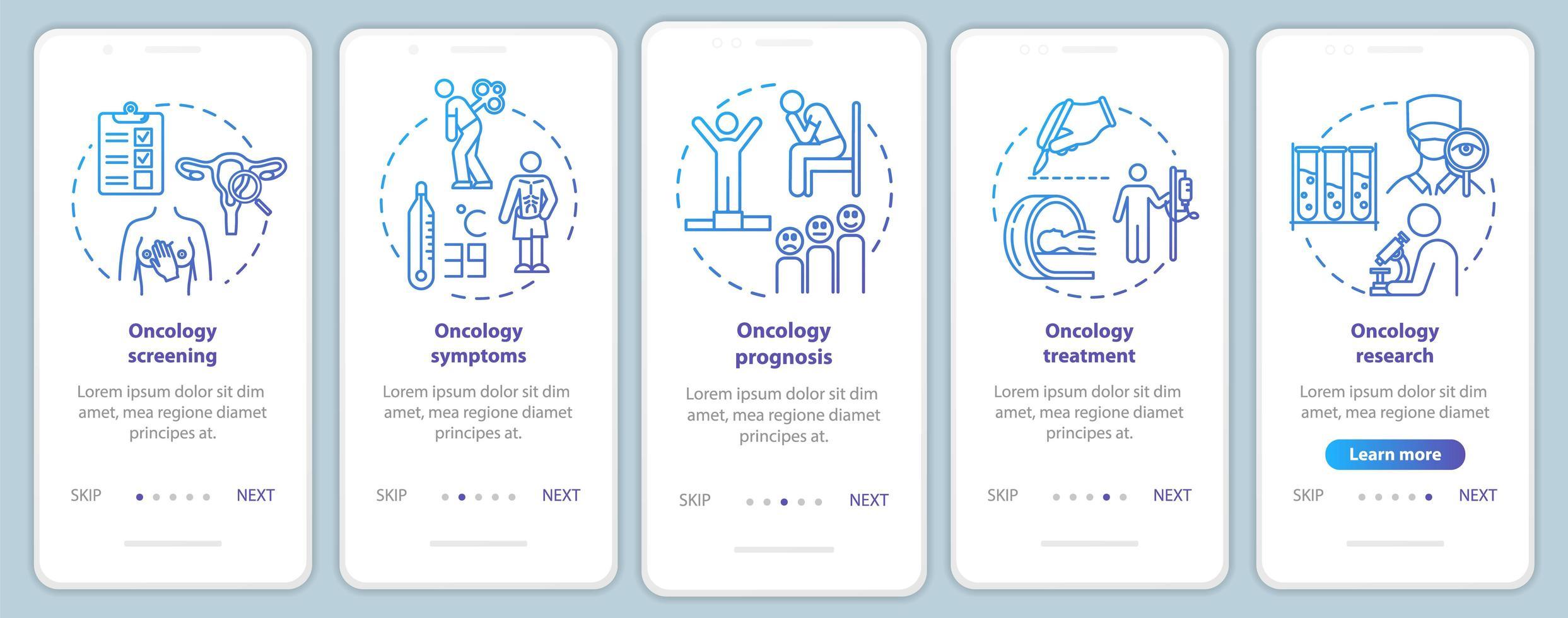 schermata della pagina dell'app mobile di oncologia onboarding vettore