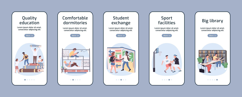 lo stile di vita degli studenti nelle schermate delle app mobili vettore