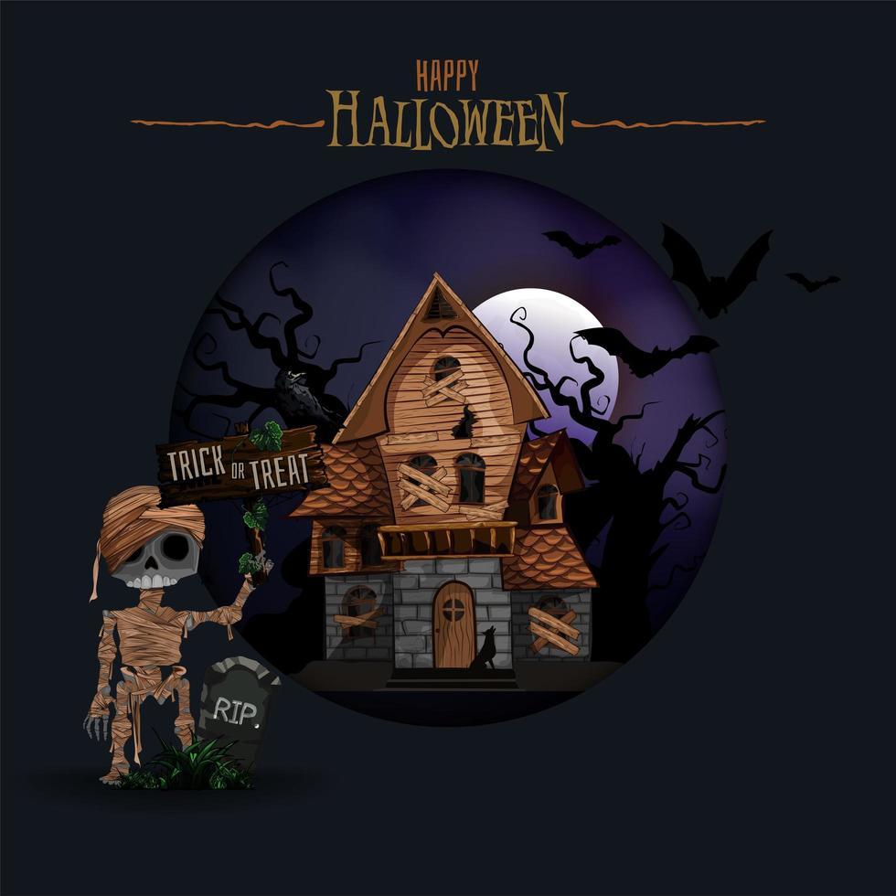 sfondo di Halloween con casa stregata e mummia vettore