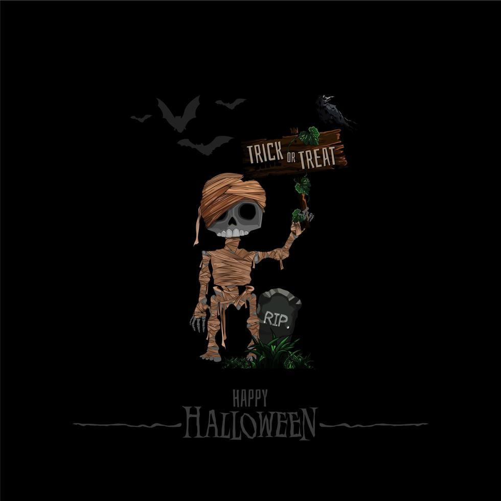 sfondo di Halloween con casa stregata, pipistrelli, cimitero e illustrazione vettoriale mummia. copia spazio per il testo.