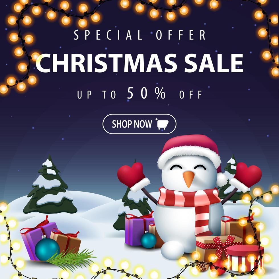 banner sconto blu di Natale con paesaggio invernale dei cartoni animati vettore