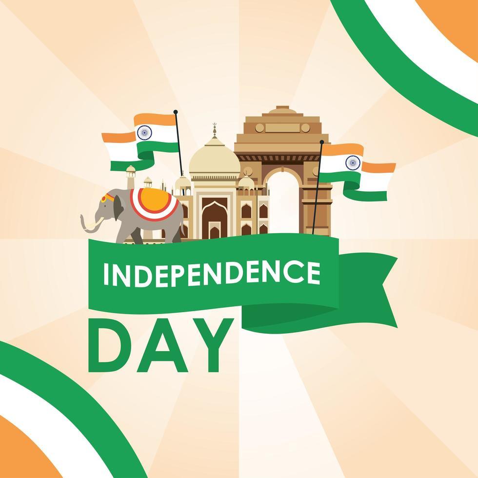 banner di celebrazione felice giorno dell'indipendenza dell'india vettore