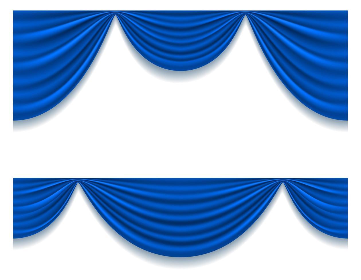 set di tende teatrali blu vettore