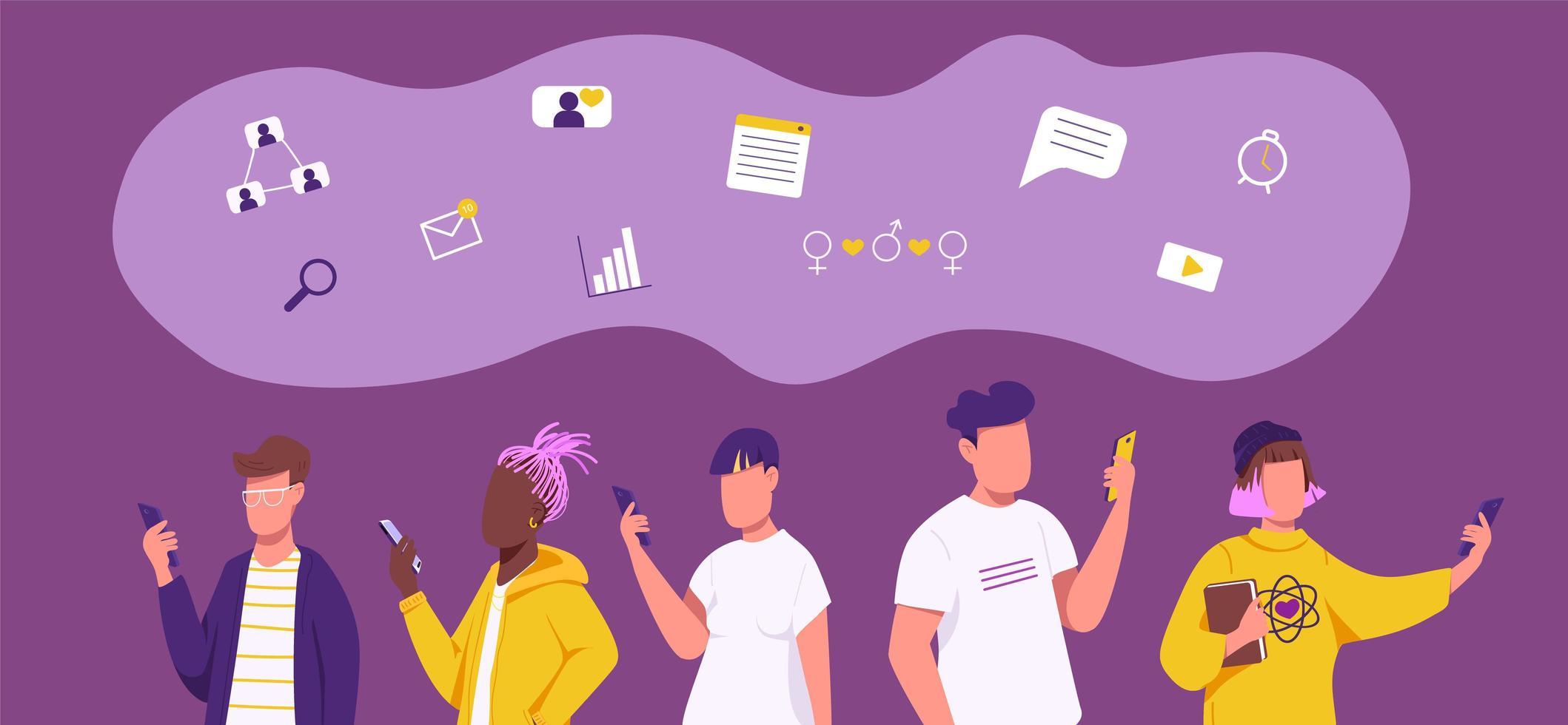 social networking di generazione z vettore