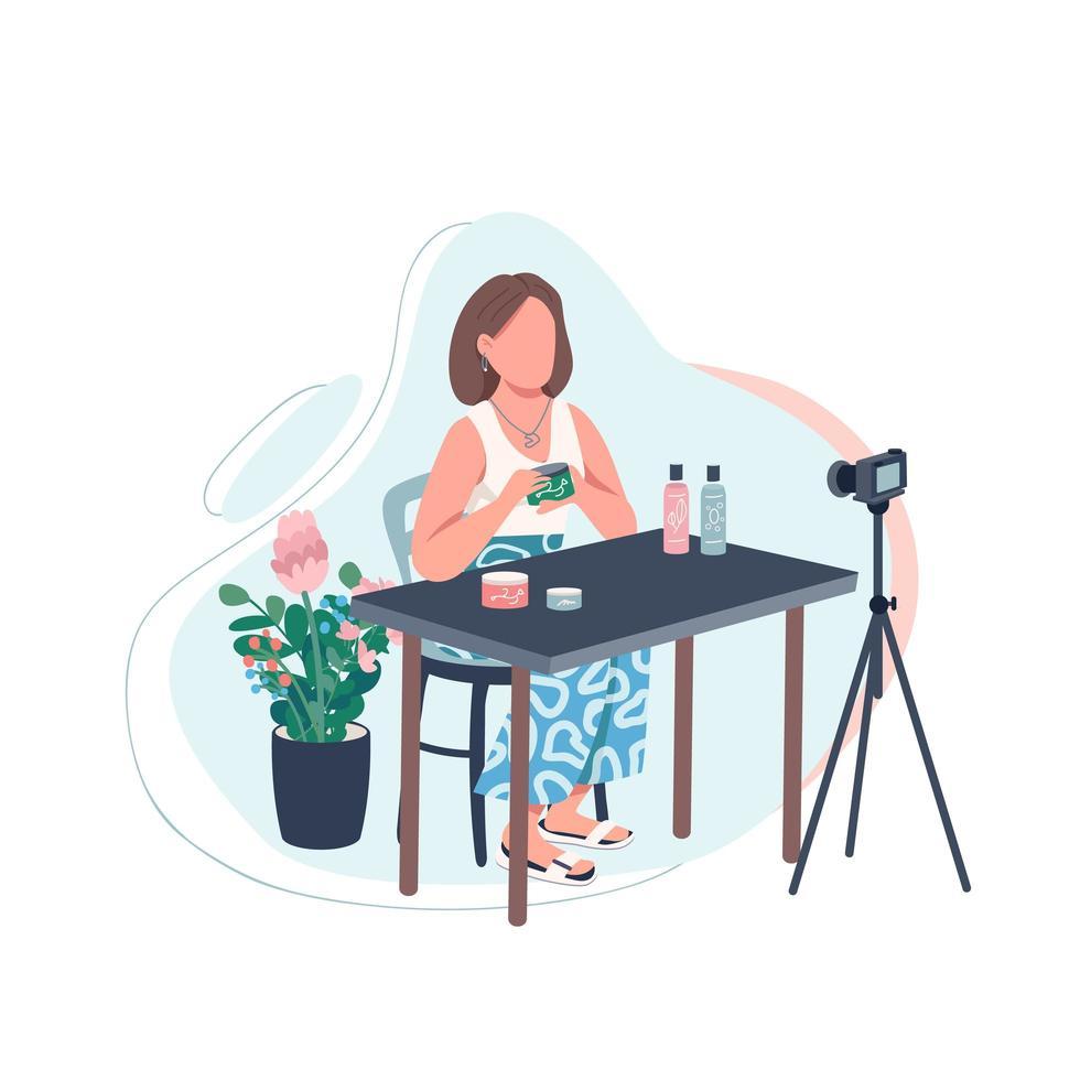 registrazione di beauty vlogger vettore