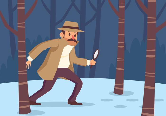 detective che cerca l'impronta vettore