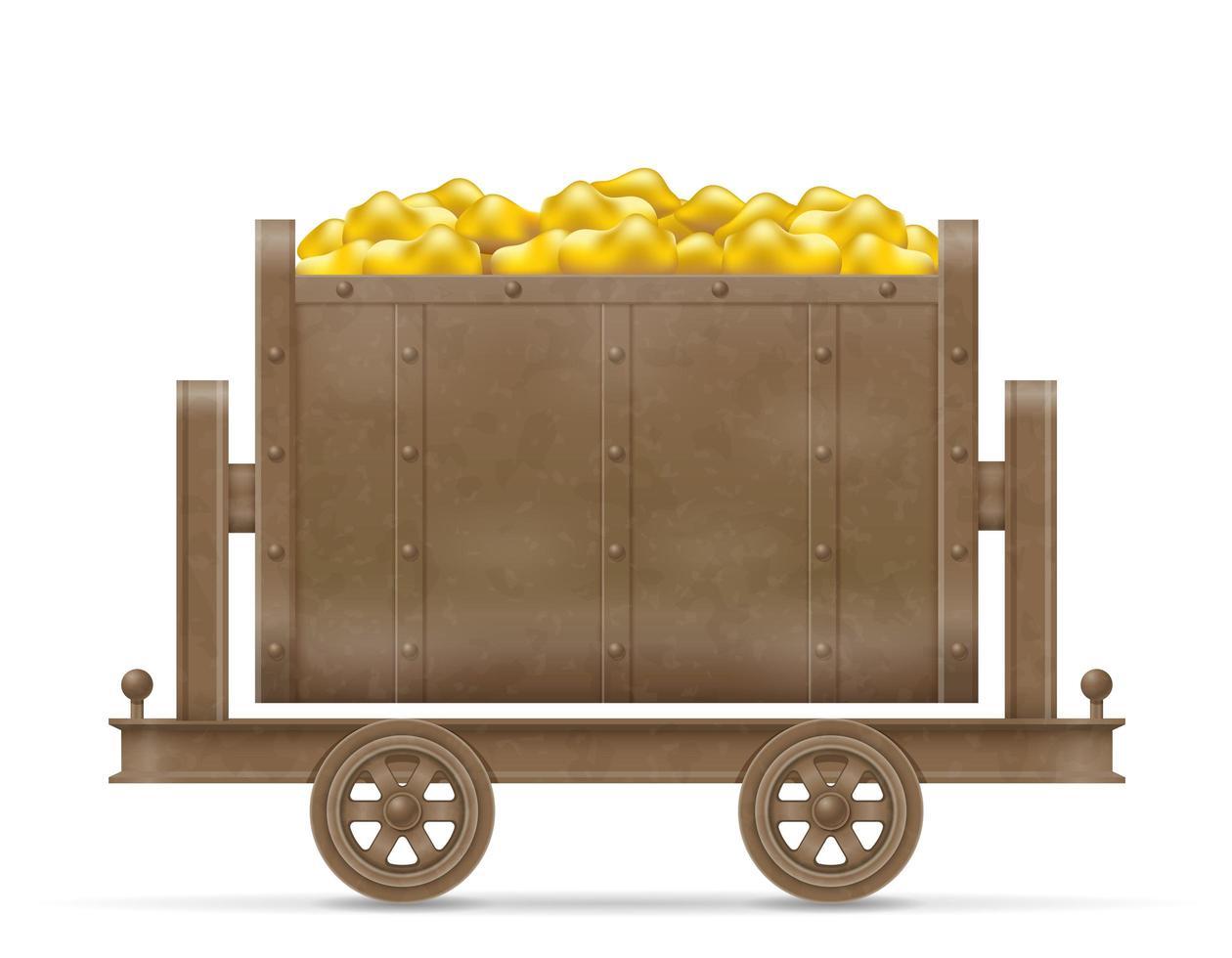 carrello da miniera con oro vettore