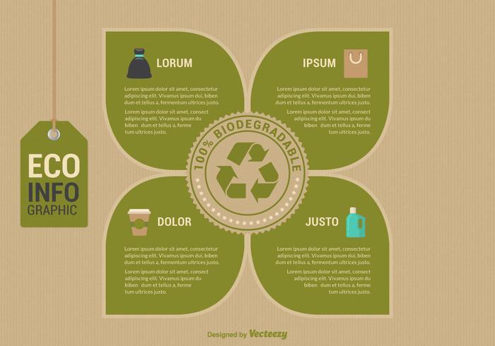 Modello di vettore di Infographic biodegradabile di Eco