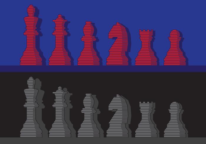 Collezione vintage di pezzi degli scacchi vettore