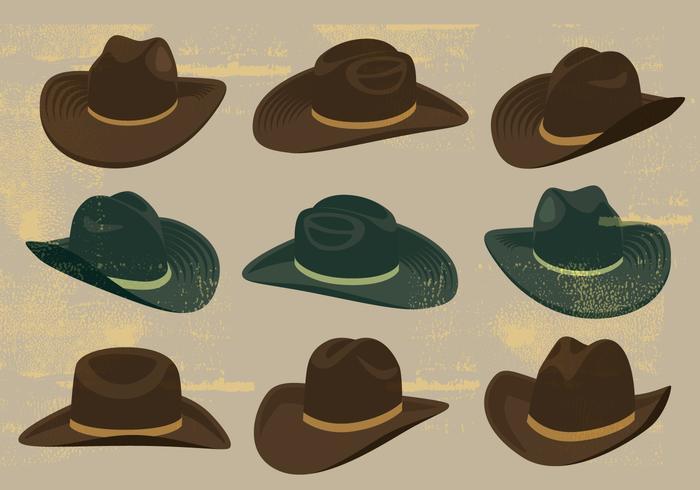 Icone dei cappelli da cowboy vettore