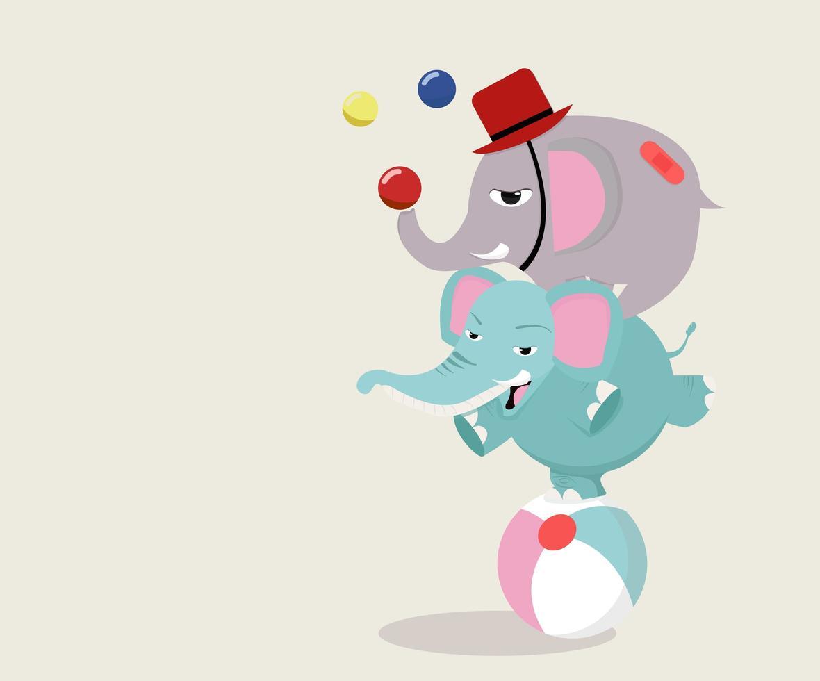 elefanti del circo sulla palla vettore